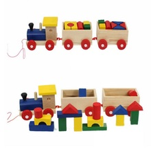 Wooden Train Pull Along Loaded With Blocks Fun Toys Set For Toddler Toy Train Set