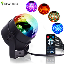 LED Party Lights Strobe Crystal Ball 3W RGB Light Sound Activated Dance Lighting for Decorations Bar Disco With Remote Control(China)