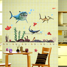 New 2013 Seabed General Mobilization Cartoon Nemo Wall Stickers Home Decor Let your bathroom Vivid XY8078(China)