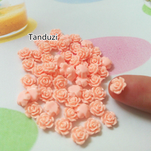 Tanduzi 200PCS Resin Rose Flower Flatback Orange Pink Rose Cabochon 6mm Scrapbooking Nail Deco Phone/Wedding/Craft