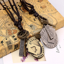 SUTEYI personalise poker card brand leather necklace vintage jewelry leather chain necklace men's lady charm gift(China)