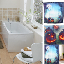 Practical 3D Pumpkin Designed Family Pool Bathroom Shower Curtain With Hook