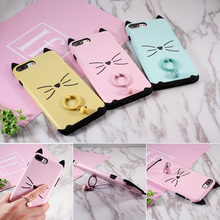 for iPhone 7 Plus Case Mustache Cat PC+TPU Back Phone Casing with Metal Ring Stand for iPhone 7 Plus 5.5 inch fundas