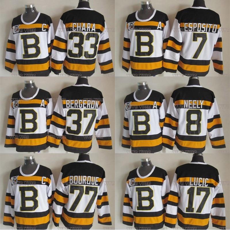 Zdeno Chara Hockey Jersey 37 Patrice Bergeron 77 Ray Bourque 8 Cam Neely 4 Bobby Orr 7 Esposito Stitched Throwback Hockey Jersey<br>