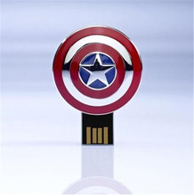 0!Best qualityHot selling Captain America's shield Usb card reader alloy metal 32GB pendrives alloy flash drive with string S62