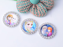 Cartoon Rhinestone Embellishment Button Flat Back 50pcs/lot 27MM Girl Hair Bow Center Kids Crafts