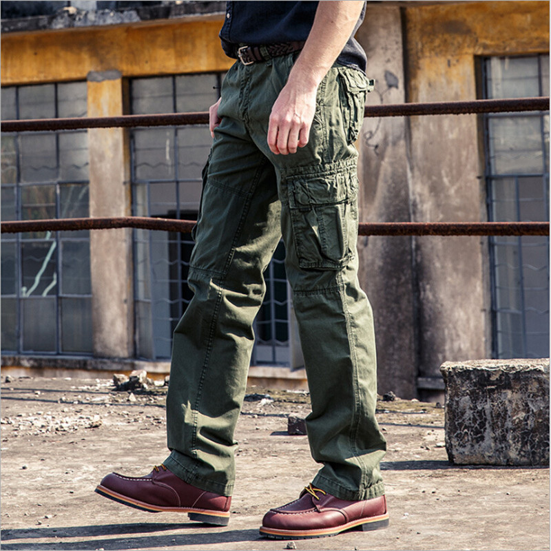 Cargo Pants Men Casual Plus Size Full Length Pants For Man Autumn Spring With Pockets Male Trousers Army Green A3158