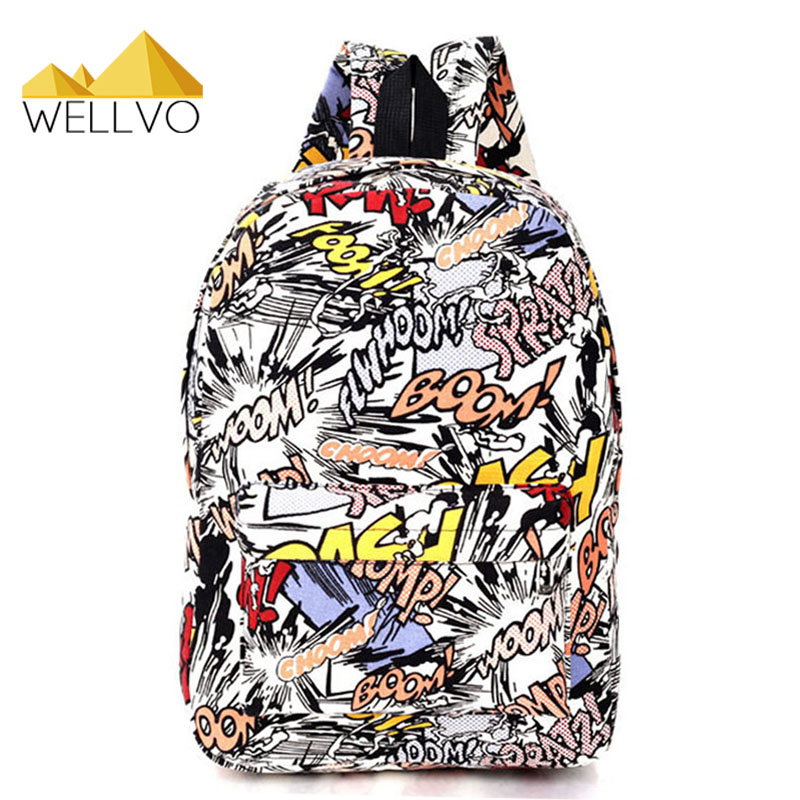 Graffiti Canvas Backpack Students School Bag For Teenage Girls Boys Backpacks Bags Cartoon Printing Rucksack Cool Escolar X1065C(China)