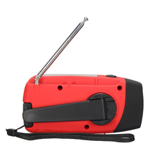 Waterproof Portable Hand crank Solar Radio AM / FM 3 LED Flashlight Phone Charger red(China)