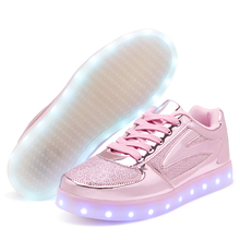 STRONGSHE Gold Pink 2017 Luminous Sneakers Kids Sneakers Charging Lighted LED lights Children Shoes Casual USB Girls Boy Shoes(China)