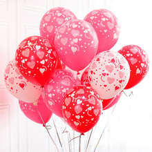 20pcs/lot 12 inches Printed Full Heart Balloon Latex Air Balloon For Wedding Marry Valentine Decoration Event Party Supplies