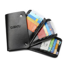 Unisex Slim ID Credit Card Holder PU Leather Business Name Credit ID Card Holder Pocket Case Rotatable Wallet For Men Women