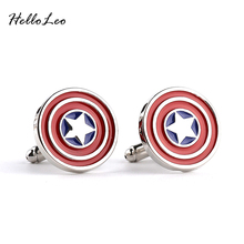 Captain America Cufflinks red color fashion novelty superheroes design  Best Gift for Movie fans wholesale