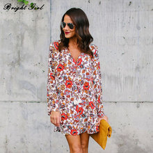 Buy BRIGHT GIRL Floral Print Chiffon Blouse Women Long Sleeve V-Neck Sexy Shirt Causal Tops Ladies Loose Blouse Femme Clothes for $14.93 in AliExpress store