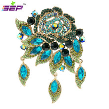 Rose Flower Brooch Pins Rhinestone Crystals Drop Broach Wedding Bouquet Women Jewelry Accessories 6454(China)