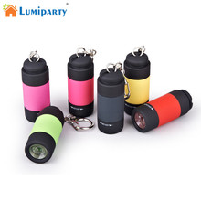 LumiParty Portable Mini Keychain USB Rechargeable Pocket Torch Flashlight Light Lamp IP67 Waterproof Multicolor Flashlight(China)