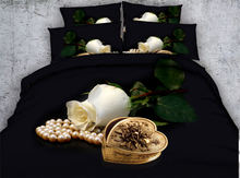 Black and White Rose Flower 3D Reactive Printed Bedding Sets Quilt/Duvet Covers Bedspreads Girls Woven 500T Twin Queen King Size(China)