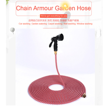 HU YANG PLASTIC Free Shipping 15m Red Nylon Garden Watering Hose for Washing Car/Garden Irrigation with 7 Spray Water Gun