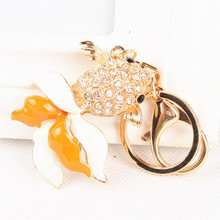 Lovely Goldfish Fish Charm New Arrival Crystal Rhinestone Pendant Purse Bag Key Ring Chain Creative Birthday Friend Gift(China)