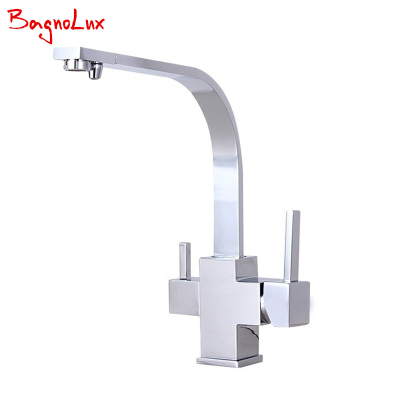 100% Solid Copper 3 Way Water Filter Tap Newly Factory Direct Square Swivel Sink Mixer Osmosis Ro-water Tri Flow Kitchen Faucet