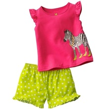 Jumping Beans Girls Clothes Set Zebra Children Clothing suits Summer Short Sleeve t-shirts Shorts pants Sport Suit TOP QUALITY