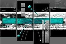 Large Turquoise Black Grey Abstract Canvas Pictures Oil Painting Floral Canvas Wall Art Wall Hand Classical Background Hi