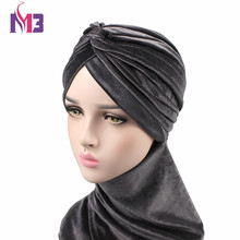 New Arrival Fashion Women Velvet Long Turban Twist Velvet Hijab Turban Hat Headband Scarf Tie Headwrap Muslim Turbante(China)