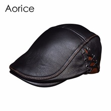 HL111 Men's real cow leather cap hat brand new style genuine leather baseball caps  beret hats