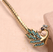 Rhinestone Metal Phoenix Hair Stick Girls Hair Accessories Antique Bronze Hair Clip For Women