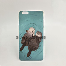 08456 romantic otters Hard transparent Cover Skin Back Case for iPhone 4 4S 5 5S 5C 6 6S Plus 6SPlus