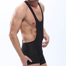 wj male bodysuit jumpsuit breathable sexy spaghetti strap male trunk panties Wrestling Coverall men body shaper short