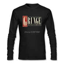 Vintage Grunge Music T Shirt O-neck Cotton Long Sleeve Seattle T Shirt Men Hip Hop Crazy Tee Shirts Homme(China)