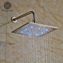 "Luxury Square Rainfall LED Light 8"" Shower Head Bathroom Shower Faucet Replace Head with Shower Arm(China)"