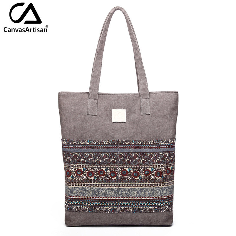 Canvasartisan Brand new canvas women handbags floral vintage female shopping shoulder bag zipper closure tote hand bags<br><br>Aliexpress