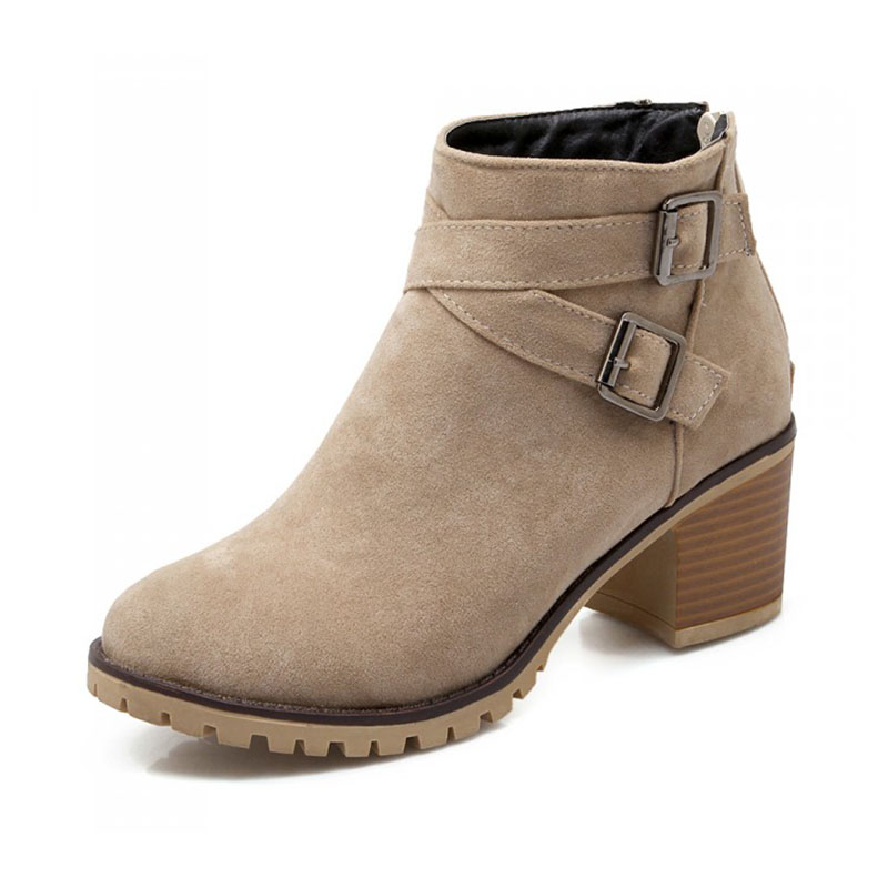 Plus Size 34-43 New Autumn winter short boots high heels boots Martin boots women Fashion zipper leather Ankle Boots 8d18<br><br>Aliexpress