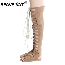 REAVE CAT Designer Women Lace up Thigh high boots Sexy Peep toe Cut outs Strappy Gladiator Summer boots Over the knee RL3363