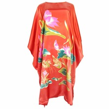 New Red Lady Night Dress Chinese Flower Robe Sexy Women Sleepwear Rayon Nightgown Print Casual Nightdress Kaftan One Size(China)