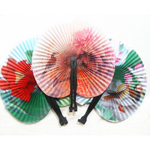 2Pcs Retro Flower Printing Hand Fan Folding Fan Party Wedding Decor Random Colo Crafts Women Girl Dancing Fan 8zcx987-3