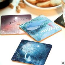 CFen A's Creative wood Coasters Cup drinks Holder Non-slip heat proof coffee drink Coasters Cup Mat DIY hand printed