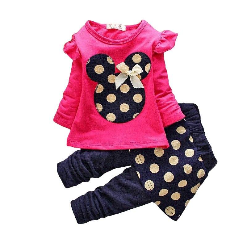 2016 Autumn Fashion Girls Clothing Set 2Pcs Children Cute Bow Cartoon Dot 4Colors Mickey Top+Dot Skirt Pants Tracksuits<br><br>Aliexpress