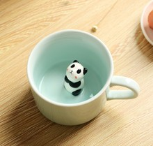 Cute Small Animals Ceramic Milk Mug Cartoon 3D Coffee Tea Mugs Breakfast Cup Novelty Gifts 230ml(China)