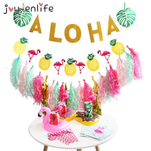"JOY-ENLIFE 1set Summer ""ALOHA"" Beach Party Banner Paper Tassels Garland Flamingo Cup Holder Bridal Shower Hen Party Supplies(China)"