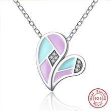 Romantic 100% 925 Sterling Silver Pendants Necklace Colourful Love Heart Forever Necklaces & Pendants Jewelry