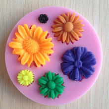New arrival Promotional 3D Sunflower Silicone Chocolate Fondant Candle Clay Soap Mould Cake Decorating Tools
