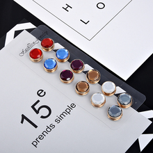 New Colorful Round faceted cabochon dome Magnet Brooch Pin Crystal Hijab Pins Muslim Scarf Clips, 6 sets Mix Color(China)