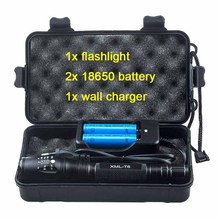 5000LM Cree xml T6 Kit Hand Lamp 5 Mode Tactical Zoomable Led Flashlight Rechargeable 18650 Battery Powerful Flash Light Torch