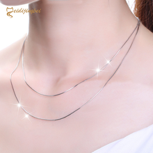 MEIDIJINGBEI S925 sterling silver box zombie necklace snake bone melon seeds water wave ingot o word clavicle chain(China)