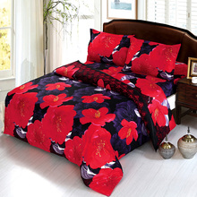 Duvet Cover 4Pcs 3D Printed Bedding Set Bedclothes Home Textiles Quilt Cover Bed Sheet 2 Pillowcases Red Peony Flower Pattern