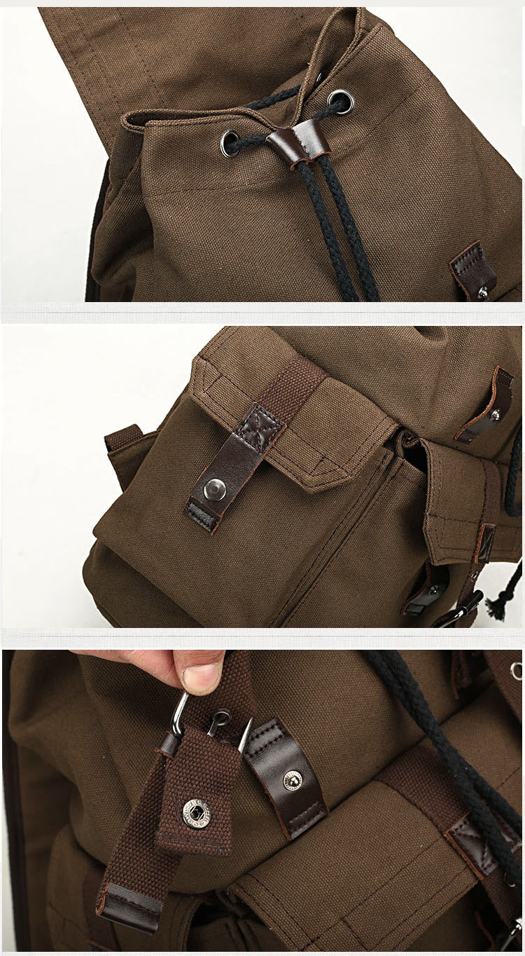 three photos of the straps and the closure materials of a vintage backpack