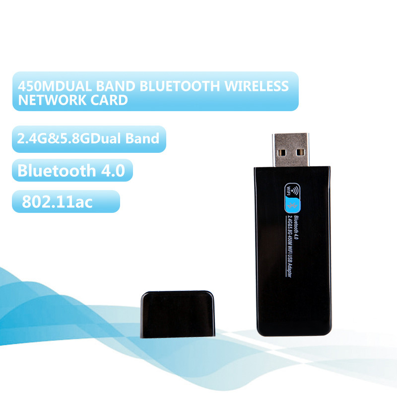 Wireless USB WIFI Adapter WIFI Bluetooth 4.0 Receiver Bluetooth Network Card 450M Intelligent Double Frequency AC Network Card(China (Mainland))